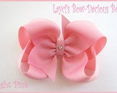 Custom LIGHT PINK Hair Bow, small, medium, large, extra large, Choose your Style, boutique, pinwheel, tails down, classic