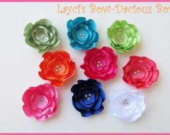 BABY BLOSSOMS Choose 1 Handmade Satin Flower Hair Clips