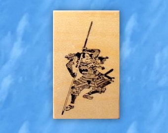 Japanese Samurai Warrior mounted rubber stamp, ronin, bushi, Sweet Grass Stamps No.12