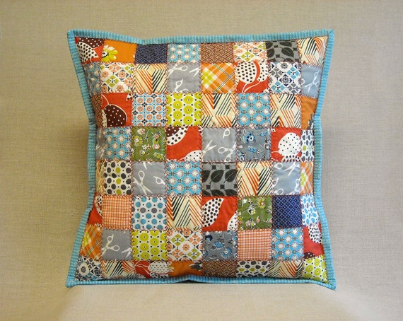 Quilted Pillow - Postage Stamp Quilt - Feedsack & Novelty Prints