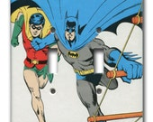 Batman and Robin Double Switch Plate 1980's Vintage Wallpaper the Dynamic Duo
