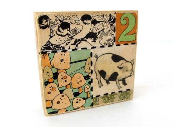 Piggy - Collage ART BLOCK - Original Mixed Media Collage