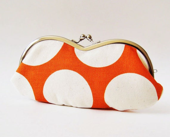 Eyeglass case - big dots on orange