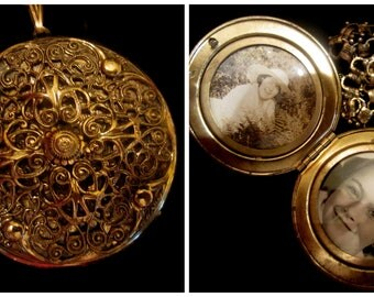 Antique Victorian Book Chain and Filigree Locket Necklace