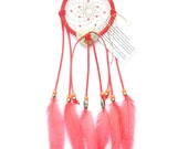 Coral Dream Catcher, Goose Satinette Feathers