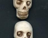 4 Polymer clay  Halloween Skull Beads top drilled SKBT 1