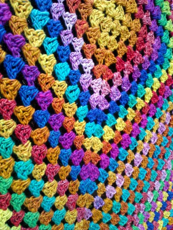 Rainbow Granny Square Lap Afghan