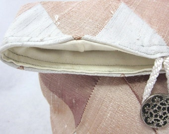 Pearl Grey, Shell and Rose Pink Patchwork Silk Bag