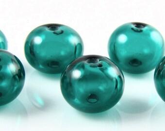 Mini Dark Teal Hollow Lampwork Glass Bead Set (6)
