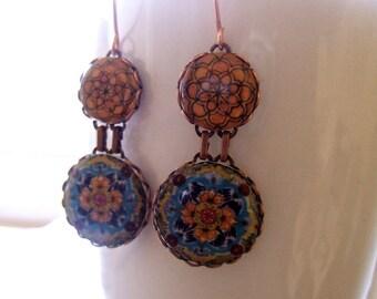 Ethnic earrings, Mexican Folk art jewelry, drop earrings, statement earrings, Talavera pottery pattern, Mexican jewelry, ethnic jewelry