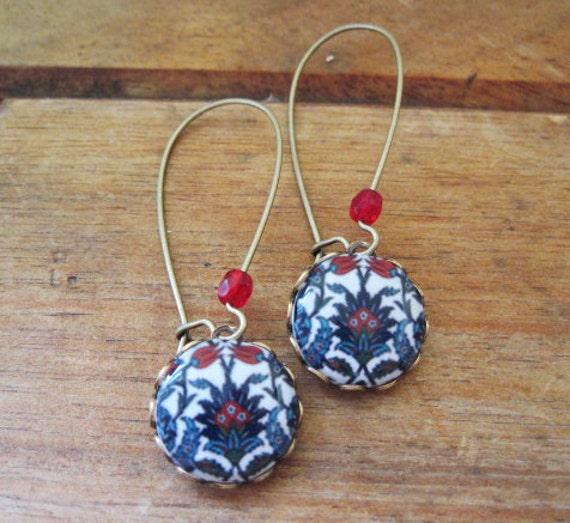 Islamic jewelry, Turkish jewelry, Iznik tile cabochon, handmade, Antique oxidized brass kidney wires, long dangle earrings