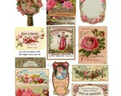 Perfume Labels - Vintage Roses - French Perfume Labels - Digital Collage Sheet - 805 - Instant Download - Soap Labels - French Labels