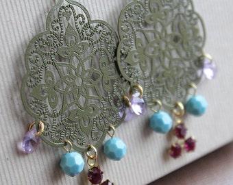 Filigree and Swarovski Earrings