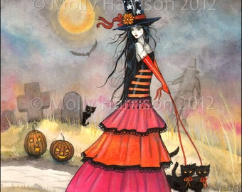 A Halloween Stroll Original Witch Cat Halloween Archival Giclee Print 5 x 7