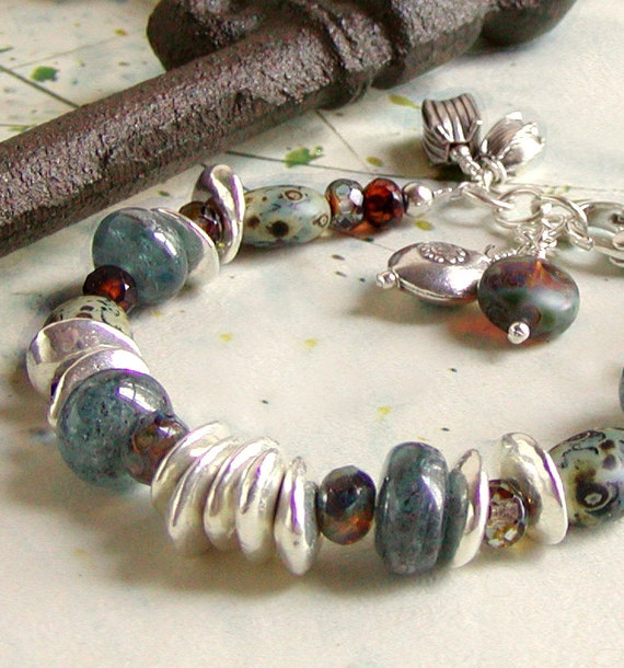 Blue Kyanite Bracelet with Amber Glass and Greek Ceramic Beads