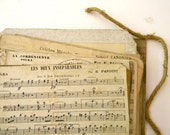 Antique French music sheets, SECONDS, lot of 10 pieces