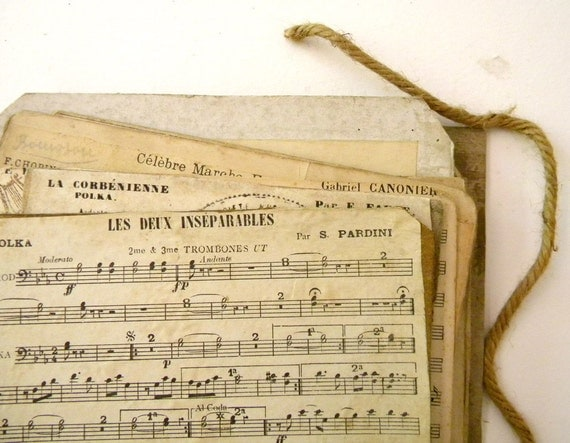 SALE Antique French music sheets, SECONDS, lot of 10 pieces