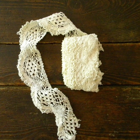 Vintage French white lace