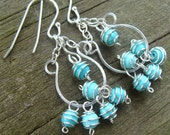 Turquoise Chandelier Earrings- Turquoise Magnesite and Sterling Silver