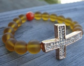 Rose Gold Crystal Cross and Sea Glass Faith Bracelet