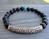Rose Gold Crystal Bar and Black Onyx Bracelet