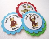 Curious George Thank You Tags -- Personalized Set of 12
