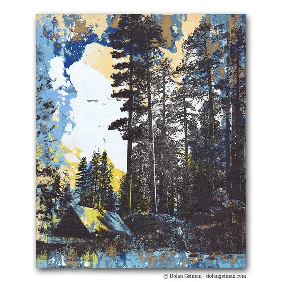 Golden Pale Blue Forest, Camping Panel Painting on Wood