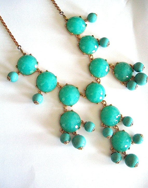 Free Shipping USA - Ships Today Free Stud Earrings - Aqua Turquoise Bubble Necklace - JCrew Inspired -  Gift for her under 40
