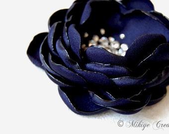 Wedding Hair Flower, Bridesmaid Hair Flower, Bridal Head Piece, Bridesmaids Gift - Petite Navy Petals