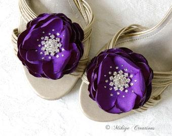Wedding Royal Purple Shoe Clips, Wedding Hair Flowers, Bridesmaids Hair Flowers, Wedding Sash Accessory 2 Piece Set Royal Purple Petals