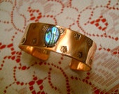 Copper Abalone Paua cuff bracelet  deep beautiful stamping Native American Indian  jewelry Choctaw  made