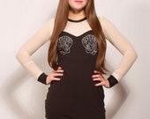 Black and Creme Mermaid Sheer Top Dress MADE TO ORDER