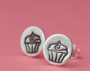 Cupcake Earrings , Cupcake Jewelry , Cute Silver Earrings , Stud Earrings