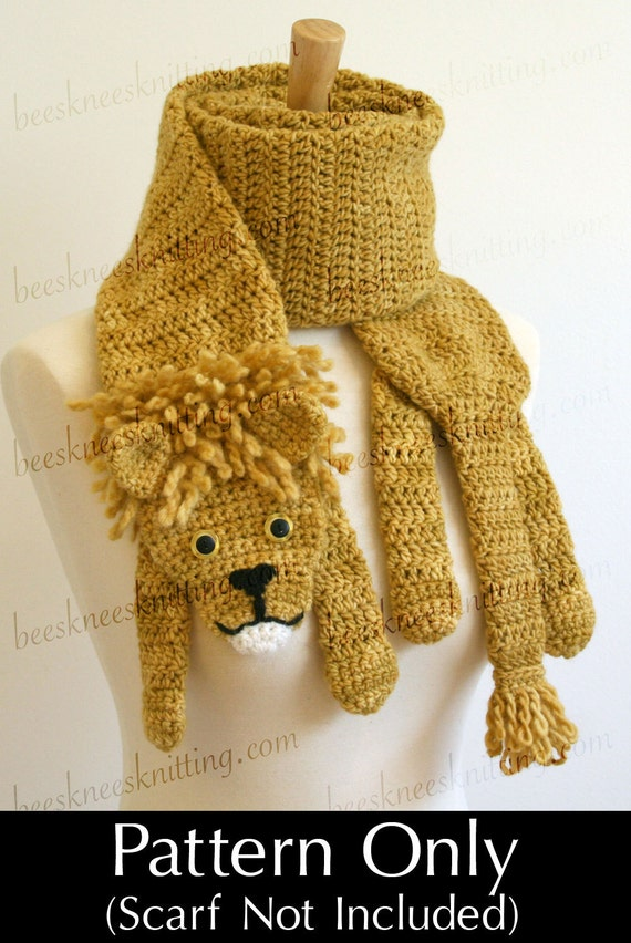 Digital PDF Crochet Pattern for Lion Scarf - DIY Fashion Tutorial - Instant Download - ENGLISH only