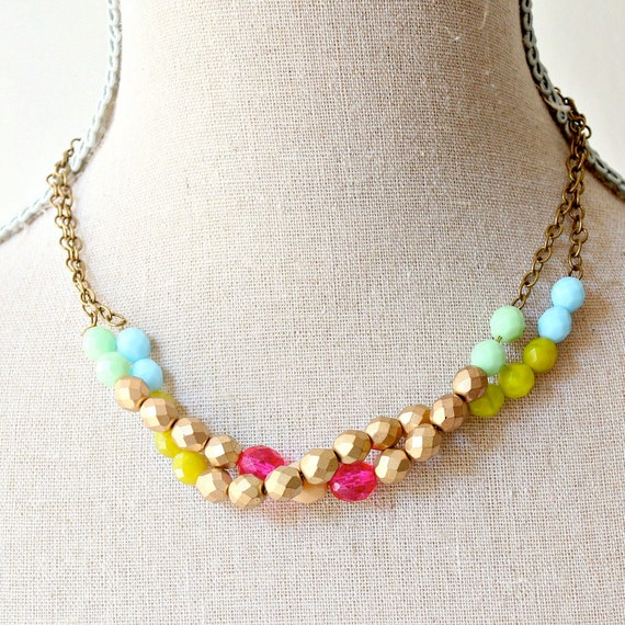 Double Chunky Beaded Necklace Pink