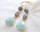 Amazonite & Labradorite Dangle Earrings. Edisto Collection. Bridesmaids Earrings.
