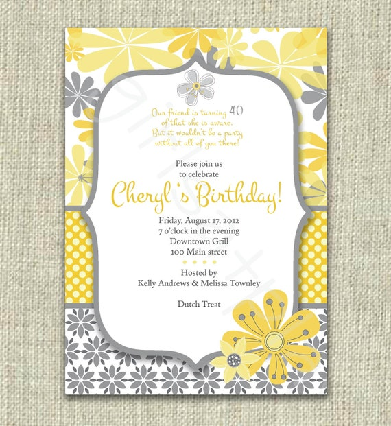 Modern 40th 50th  Birthday Invitation Invite Yellow Gray Flowers Mod - Digital Printable by girlsatplay girls at play