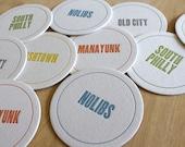 PHILADELPHIA Letterpress Neighborhood Coasters (Pack of 10)
