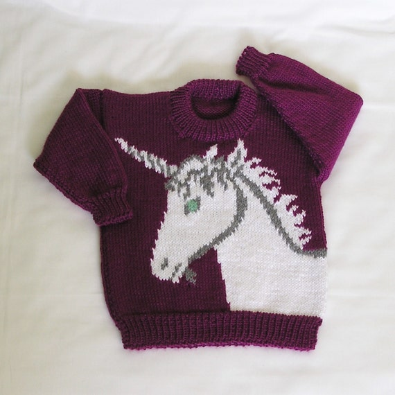 Kids Unicorn MADE TO ORDER Unicorn Sweater Hand Knitted. Custom Color & Size