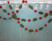 6' Holly and Ivy Wool Felt Garland