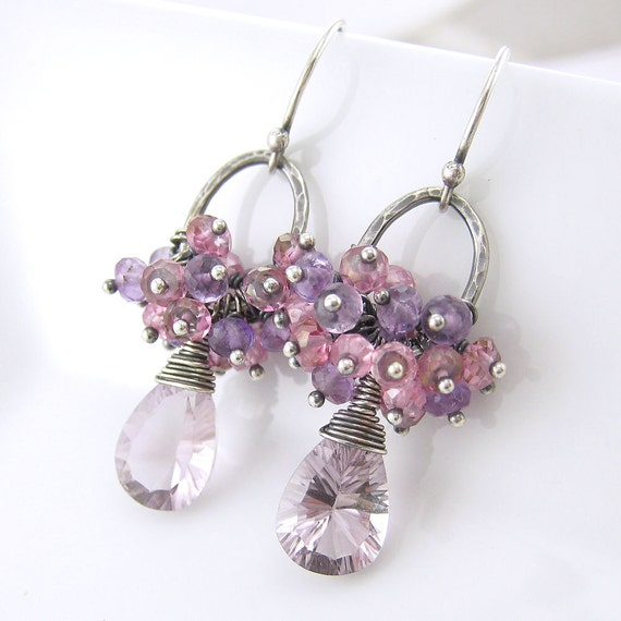 Pink Amethyst Earrings Gemstone Cluster Sterling Silver Pink Topaz Purple February Birthstone No. 27 Pastel Handmade Fashion Jewelry