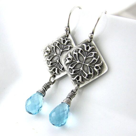 clearance blue gemstone earrings tulip earrings by