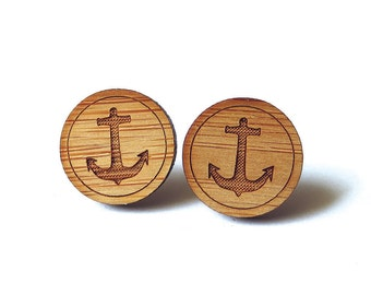 Anchor Earrings. Wood Earrings. Stud Earrings. Laser Cut Earrings. Bamboo Earrings. Gifts For Her. Gift For Women. Nautical Earrings. Anchor