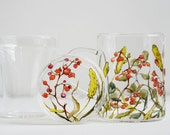 Glass Lidded Mug with Infuser - Fall Berries - made to order