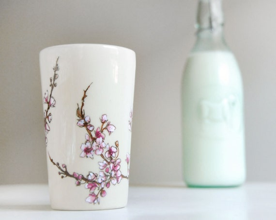 ready to ship - Ceramic Tumbler - Cherry Blossoms Collection