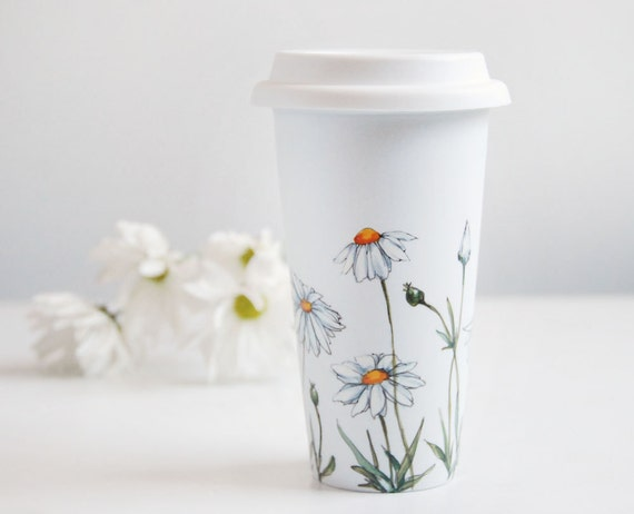 Hand Painted White Ceramic Travel Mug - Daisies, Botanical Collection