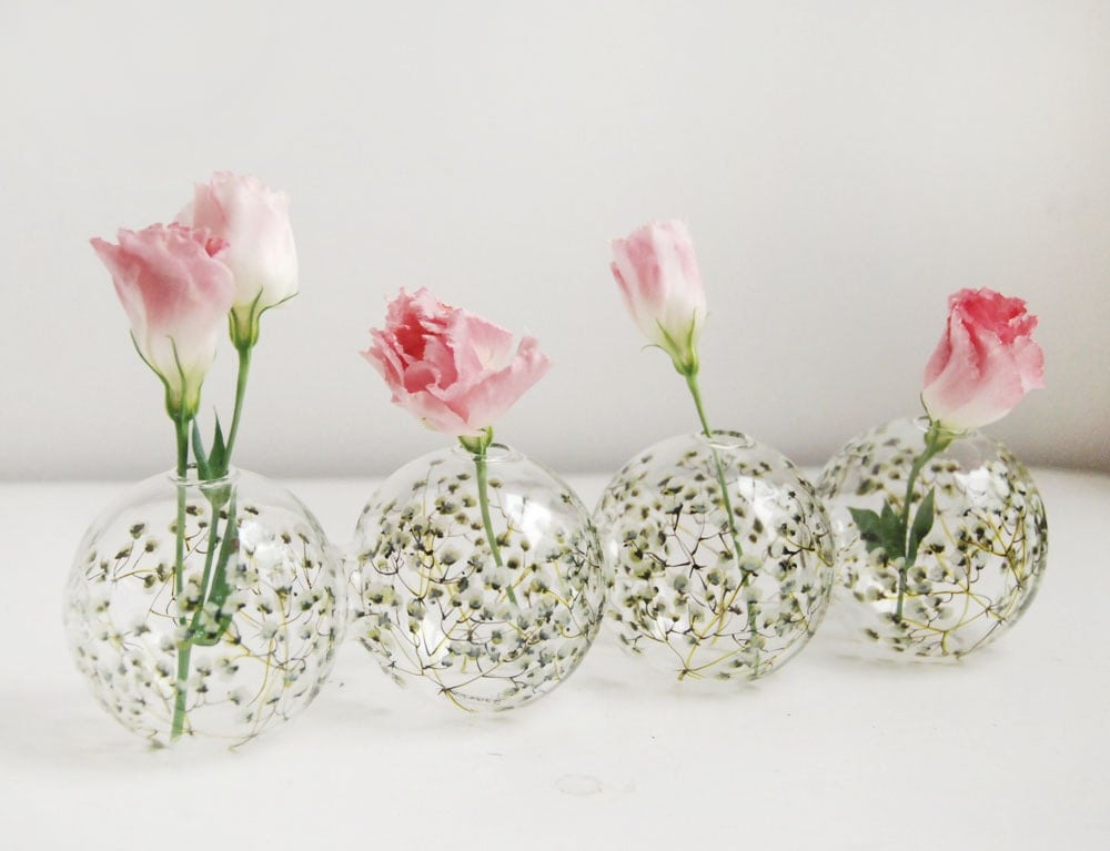 Glass Bud Vase Baby S Breath Collection Ready To Ship