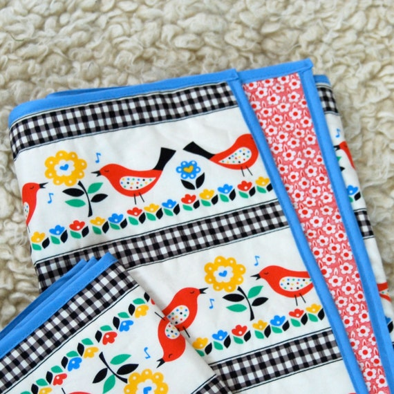 Ready to Ship Modern Baby Quilt - Birds Scandinavian Playmat Crib Stoller