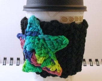 SALE - Black with Rainbow Star Crocheted Coffee Cozy (SWG-B01)