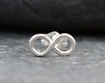 INFINITY cartilage stud, earring, piercing, nose, sterling, silver, Post, 925, Modern, Tiny